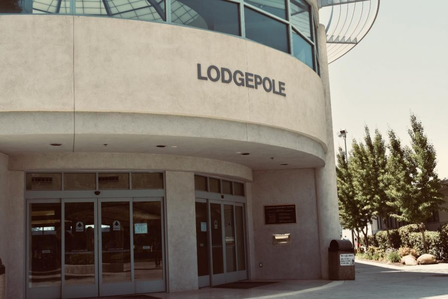 The Lodgepole library sits in the afternoon sun.