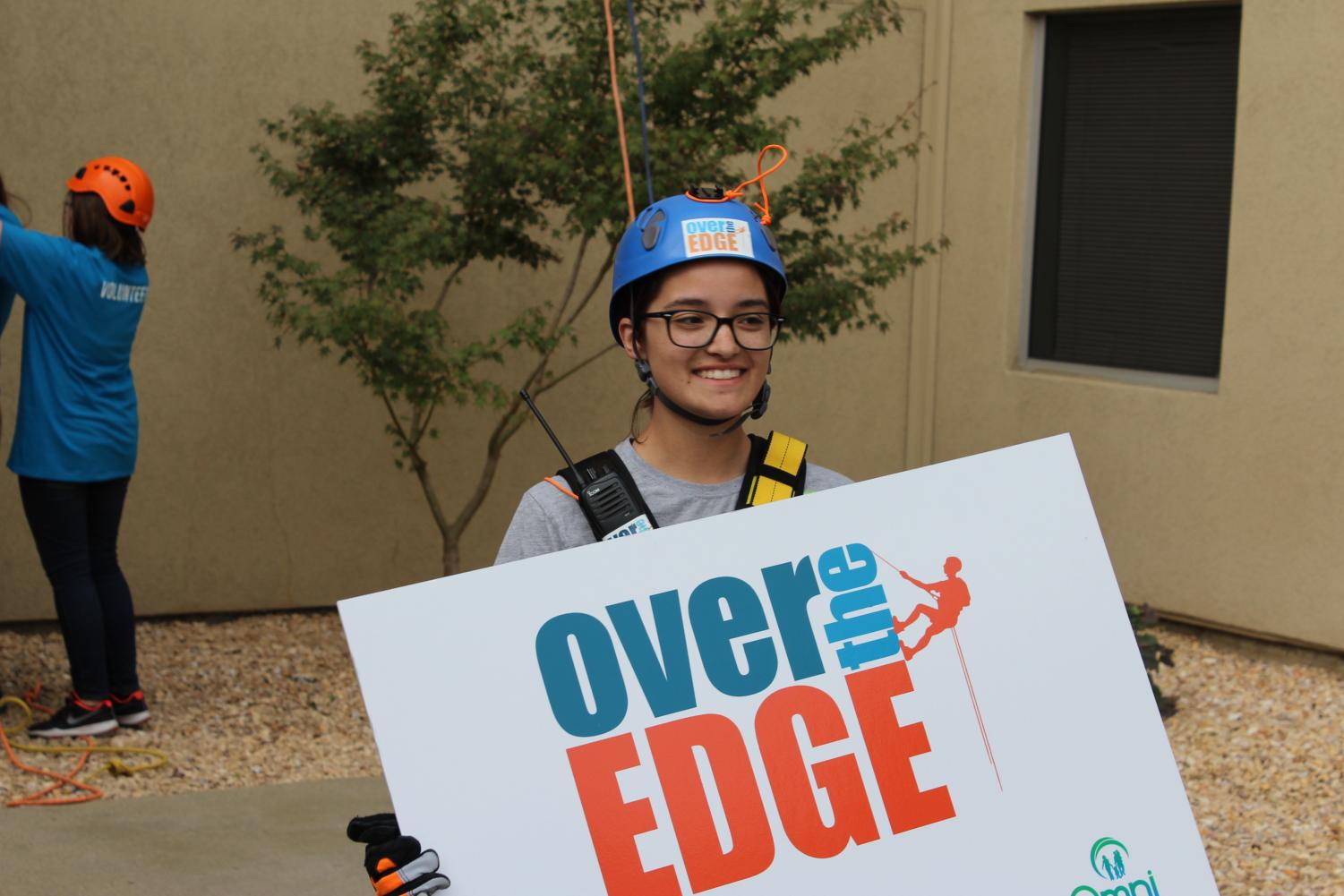 Briuana Guerro after rappelling the Marriott Hotel