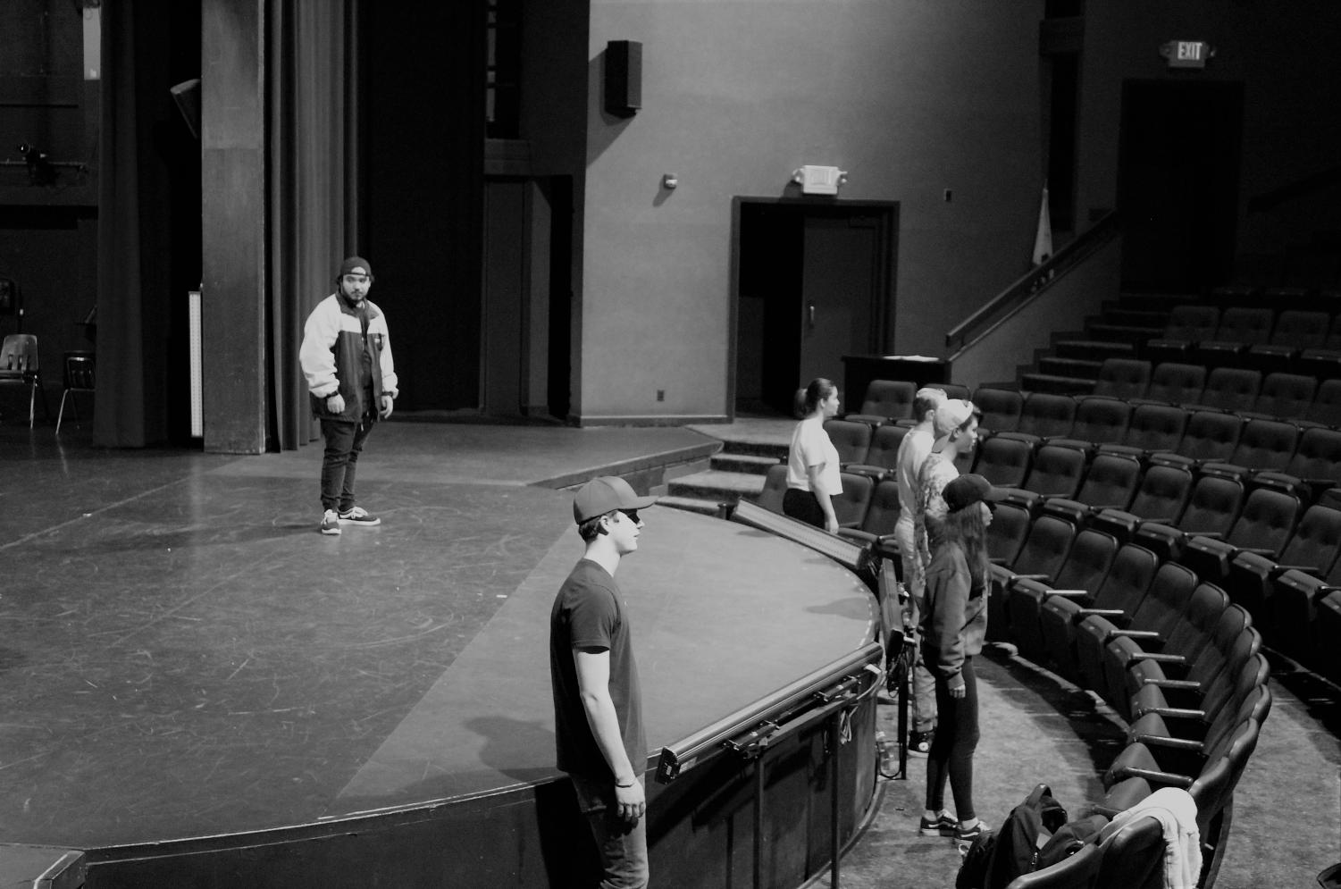 Andrew Martinez (Loner) stands aside from Will Huffaker (AP), Natalie Ezelle (Perfect), Nick Lambert (Jack), Jayromy Mercado (Prep), and Olivis Gonzales (Faith) during an inner monologue.