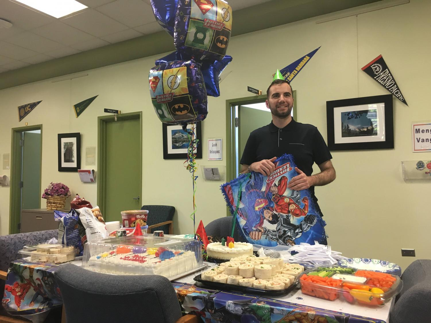 COS Counselor, Juan Sanchez, 29, celebrates his 29th birthday inside the counseling department in the Sequoia building.