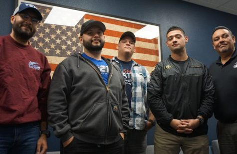 Student Veterans Julian Fernandez Student Veteran (left), Justin Martinez (mid left), Student Student Workers at the Veterans Resource Center/Veterans Shayne Nicholas (mid), Edgar Gomez (mid right), and Political Science Professor/Veteran Juan Arzola (right) at the Veterans Resource Center, Sequoia Building, Room 106