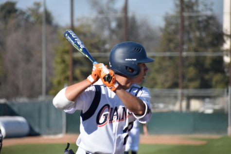 COS Sophomore Donte Valdez (22), preparing to bat against Mission.