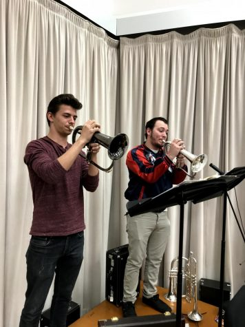 Jazz students, Reese Huskey and Tony Franchino practicing before their performance.