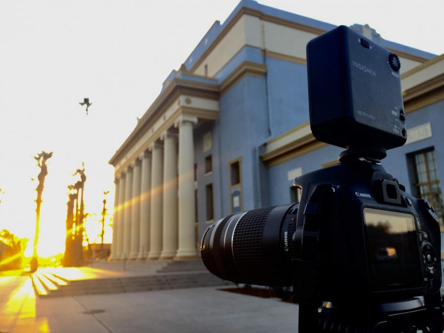 My Canon T5 near the Hanford Civic Auditorium for a story on City Council meeting on Tuesday March 27, 2018. (Louie Vale/ March 27th, 2018, Hanford.