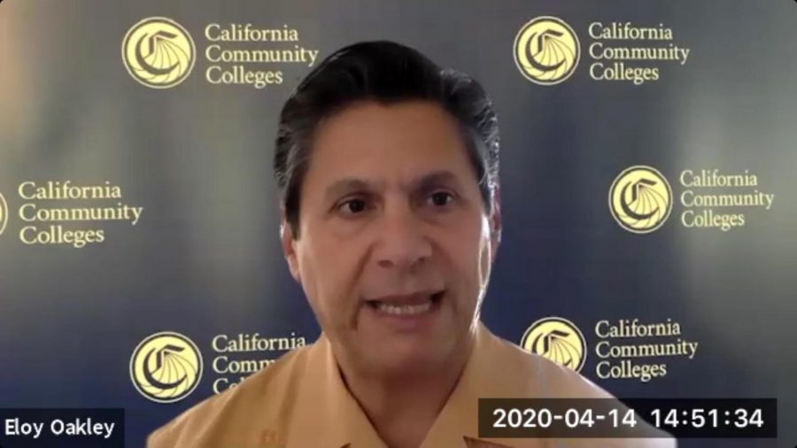 Chancellor Eloy Ortiz Oakley speaking at the April 14th California Community College Chancellor's Office Zoom Meeting