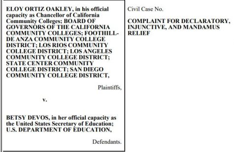 Lawsuit filed against the U.S. Department of Education provided by the California Community Colleges.