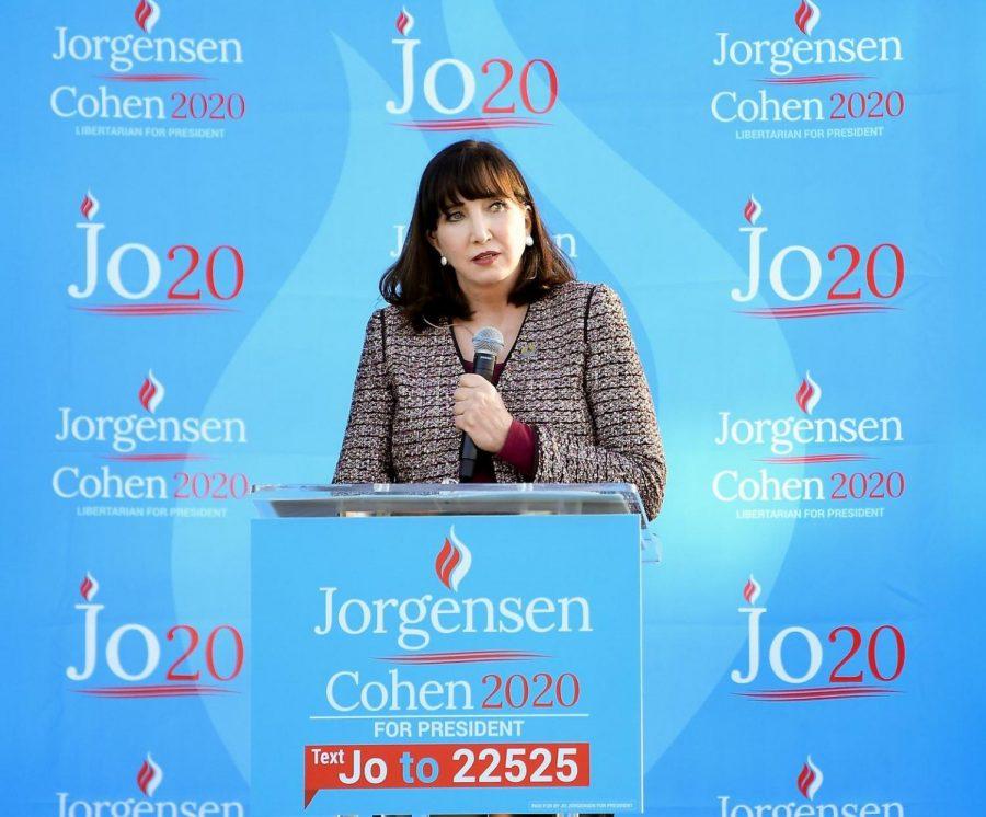 Libertarian nominee Jo Jorgensen addressing her supporters.