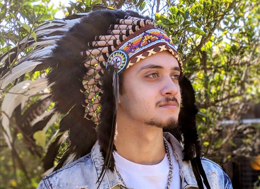 Editor+in+Chief%2C+Elijah+Perez+showing+his+Chumash+Tribe+pride.