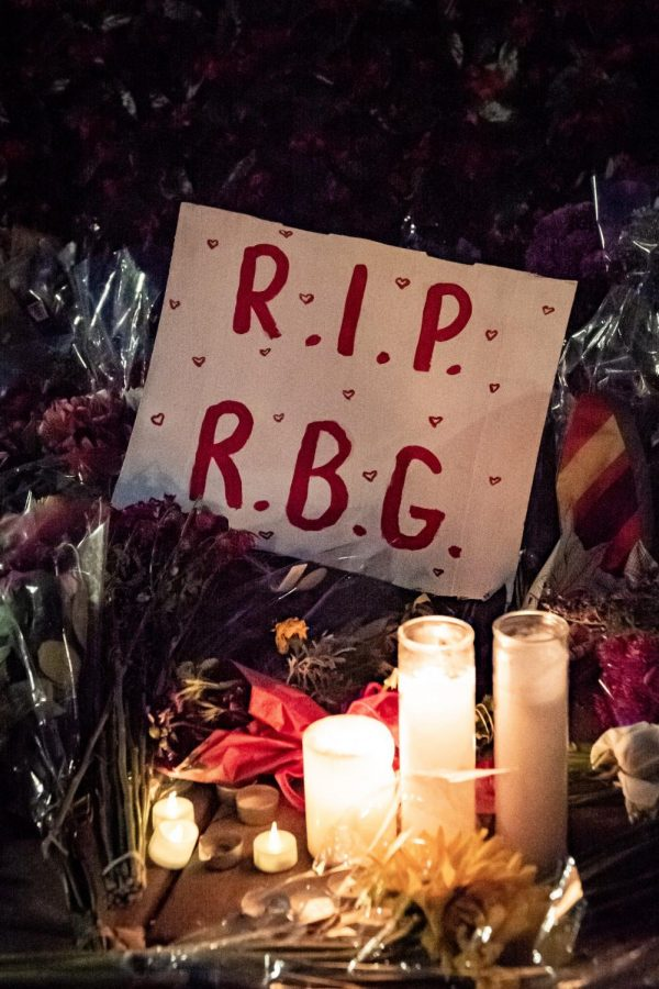RBG+memorial+put+in+place+to+honor+her