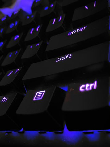 Keyboard lit up for gaming