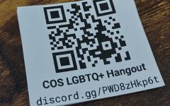 The QR Code and link to the COS LGBTQ+ Hangout server. For the Discord Student Hub story.